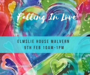 a blue heart with a banner redaing Falling In Love, Elmsley House, Malver 9th of Feb 2019
